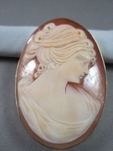 ANTIQUE 14K YELLOW GOLD LADY SHELL CAMEO 54MM X 40MM PENDANT PIN #21879
