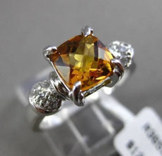 ESTATE 1.52CTW DIAMOND & AAA CITRINE 14KT WHITE GOLD 3D CUSHION ENGAGEMENT RING
