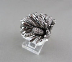 ANTIQUE WIDE FILIGREE FLOWER 3D 1.55CT DIAMOND 18KT BLACK AND WHITE GOLD RING