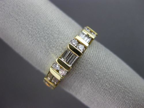 .75CT ROUND & BAGUETTE DIAMOND 14KT YELLOW GOLD SEMI ETERNITY WEDDING RING #1180