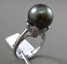 ESTATE LARGE .38CT DIAMOND 18KT WHITE GOLD TAHITIAN PEARL FLOWER SOLITARE RING