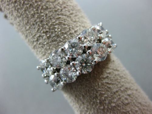 LARGE 3.15CT ROUND DIAMOND 14KT WHITE GOLD 3D BRILLIANT DOUBLE ROW WEDDING RING