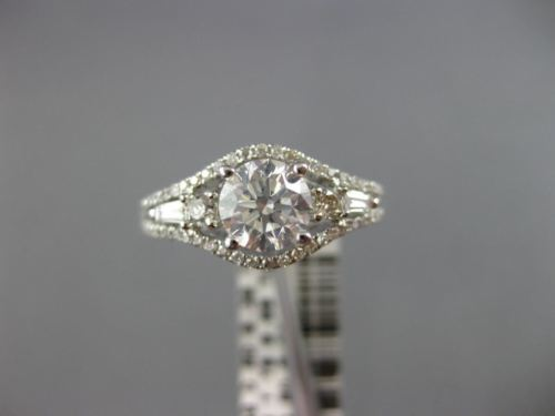 GIA CERTIFIED 1.25CT ROUND & BAGUETTE DIAMOND 14K WHITE GOLD 3D ENGAGEMENT RING