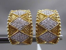 ESTATE WIDE 1.0CT DIAMOND 14K TWO TONE GOLD 3D HANDCRAFTED CLIP ON EARRINGS