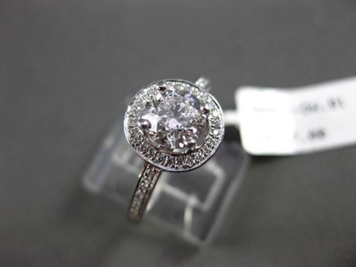 ESTATE .99CT DIAMOND 18K WHITE GOLD HALO 3D SOLITAIRE ENGAGEMENT RING AMAZING!