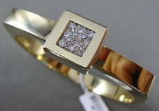 ESTATE WIDE .30CT DIAMOND 14KT YELLOW GOLD 3D SQUARE PAVE BANGLE BRACELET