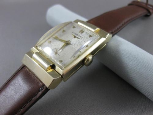 ANTIQUE 14K YELLOW GOLD RECTANGULAR LONGINES MENS WATCH SIMPLY AMAZING! #19865