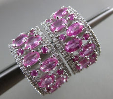 ESTATE WIDE 3.83CT DIAMOND & AAA PINK SAPPHIRE 14K GOLD 3D OPEN CLIP ON EARRINGS