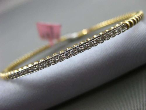 ESTATE .22CT DIAMOND 14K WHITE & YELLOW GOLD 3D PAVE ROPE DESIGN BANGLE BRACELET