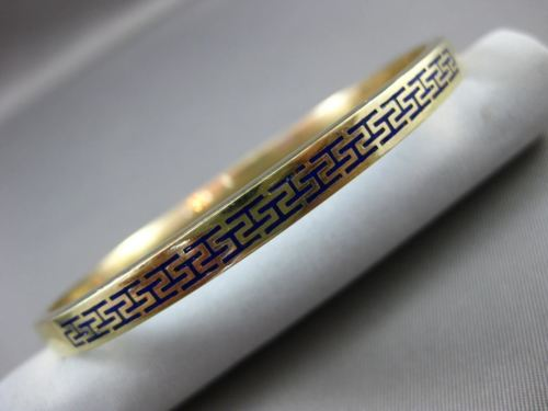 ESTATE 14KT YELLOW GOLD BLUE ENAMEL 3D GREEK KEY DESIGN 5mm BANGLE BRACELET