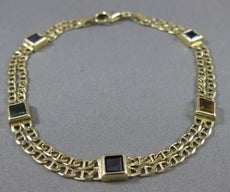 ESTATE LONG 14KT YELLOW GOLD DOUBLE STRANDED AAA MULTI GEM BRACELET UNIQUE 22717