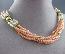 ESTATE 14KT YELLOW GOLD 3D CORAL & FRESHWATER PEARL MULTI STRAND NECKLACE #25351