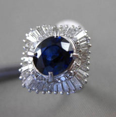 ANTIQUE 3.5CT DIAMOND & AAA SAPPHIRE PLATINUM BALLERINA COCKTAIL ENGAGEMENT RING