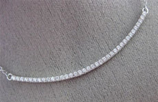 ESTATE .42CT DIAMOND 18KT WHITE GOLD 3D CLASSIC ELONGATED PAVE BAR LOVE NECKLACE