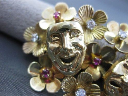 ANTIQUE WIDE .40CT DIAMOND RUBY 14KT YELLOW GOLD MARDI GRAS FACE PIN PENDANT 683