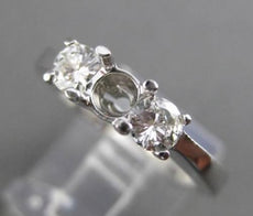 ESTATE .44CT DIAMOND 14KT WHITE GOLD 3 STONE SEMI MOUNT ENGAGEMENT RING #22464