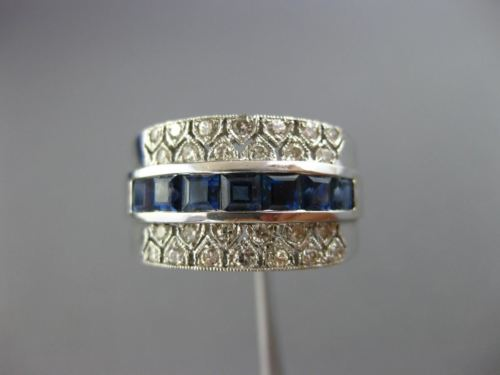 WIDE 1.45CT DIAMOND & AAA SAPPHIRE 18KT WHITE GOLD 3D FILIGREE ANNIVERSARY RING