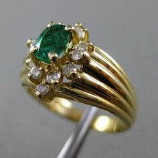 ESTATE .65CT ROUND DIAMOND & AAA EMERALD 14K YELLOW GOLD 3D OVAL ENGAGEMENT RING