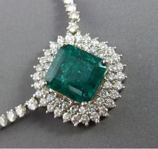 ESTATE MASSIVE 23.81CT DIAMOND & COLOMBIAN EMERALD 18KT GOLD 3D TENNIS NECKLACE