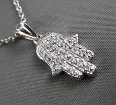 ESTATE .35CT DIAMOND 14KT WHITE GOLD 3D HAMSA LUCKY CHARM FLOATING PENDANT 24409