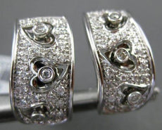 ESTATE WIDE .41CT DIAMOND 18KT WHITE GOLD 3D MULTI HEART ETOILE CLIP ON EARRINGS