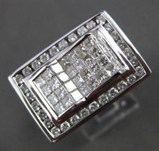 ESTATE LARGE 2.50CT DIAMOND 14KT WHITE GOLD 3D RECTANGULAR PYRAMID MENS RING