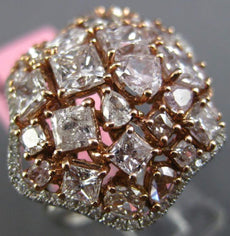 ESTATE LARGE 5.29CT WHITE & PINK DIAMOND 18KT 2 TONE GOLD 3D FLOWER CLUSTER RING
