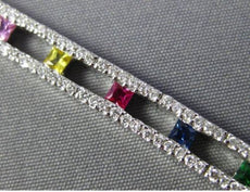 ESTATE LONG 4.75CT DIAMOND MULTI COLOR SAPPHIRE 14KT WHITE GOLD TENNIS BRACELET