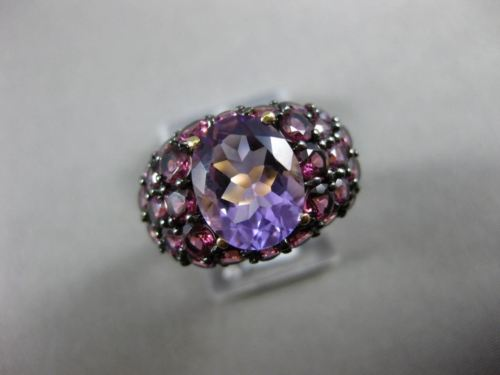 ANTIQUE LARGE 4.72CT AAA ROUND PINK GARNET & OVAL AMETHYST 14KT YELLOW GOLD RING