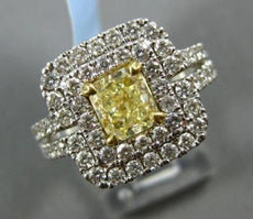 LARGE 2.54CT WHITE & FANCY YELLOW DIAMOND 18K TWO TONE GOLD HALO ENGAGEMENT RING
