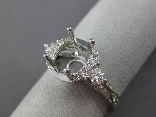 LARGE .70CT DIAMOND 14KT WHITE GOLD 3D HALO ROUND SEMI MOUNT ENGAGMENT RING