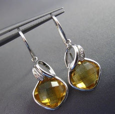 ESTATE 6.96CT DIAMOND & AAA CITRINE 14KT WHITE GOLD SQUARE LEAF HANGING EARRINGS
