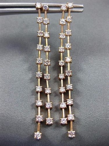 LONG 1.58CT DIAMOND 14KT ROSE GOLD 3D 2 ROW DIAMOND BY THE YARD HANGING EARRINGS