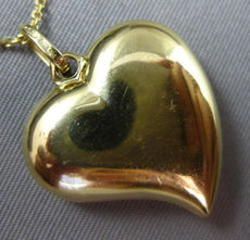 ESTATE 18KT YELLOW GOLD HANDCRAFTED DOUBLE SIDED HEART LOVE CHARM PENDANT #25310