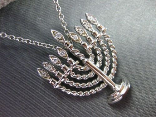 ANTIQUE .09CT DIAMOND 14KT WHITE GOLD 3D CLASSIC FILIGREE MENORAH PENDENT #2325