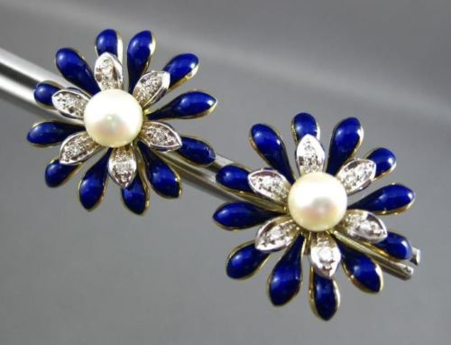 ANTIQUE LARGE DIAMOND 18KT W & Y GOLD AAA PEARL FLOWER ENAMEL EARRINGS #22455