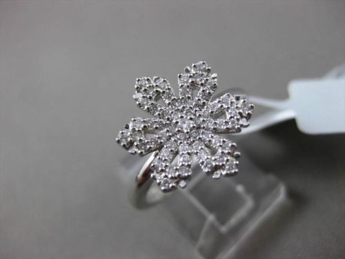 ANTIQUE .39CT DIAMOND 18KT WHITE GOLD 3 DIMENSION PAVE SNOW FLAKE FUN RING