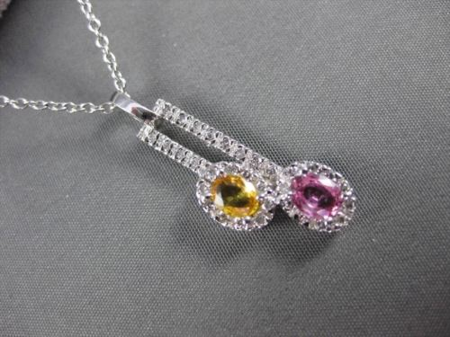 ANTIQUE 1.0CT DIAMOND AAA PINK & YELLOW SAPPHIRE 14K WHITE GOLD FLOATING PENDANT