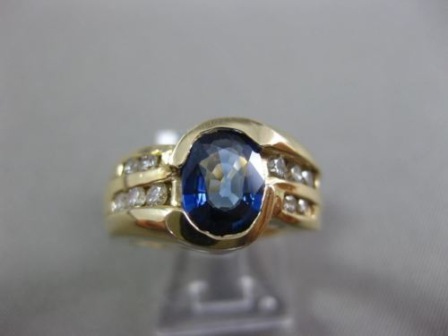 ESTATE WIDE 1.89CT DIAMOND & SAPPHIRE 14KT WHITE GOLD SEMI BEZL ENGAGEMENT RING