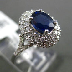 ESTATE WIDE 1.54CT DIAMOND & SAPPHIRE 18KT WHITE GOLD FILIGREE ENGAGEMENT RING