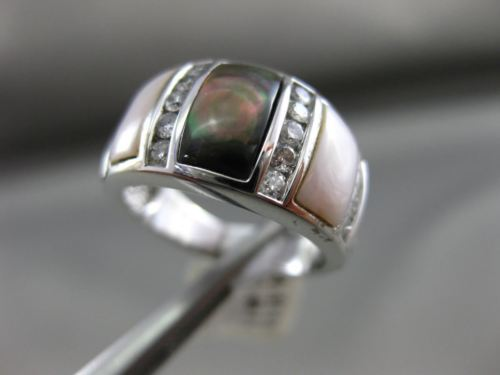 ESTATE WIDE .51CT DIAMOND & AAA MOTHER OF PEARL 14KT WHITE GOLD 3D COCKTAIL RING