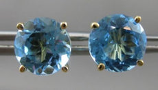 ANTIQUE LARGE 4.0CT AAA BLUE TOPAZ 14KT YELLOW GOLD STUD EARRINGS STUNNING 22625