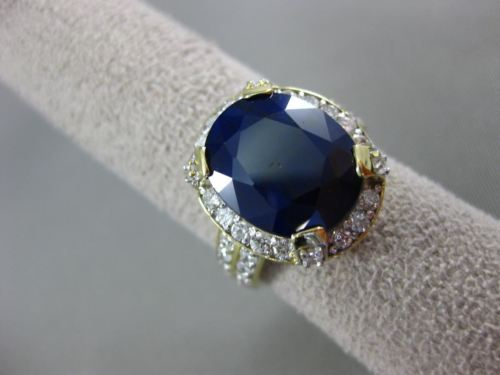 ESTATE LARGE 8.78CT DIAMOND & AAA SAPPHIRE 18KT YELLOW GOLD HALO ENGAGEMENT RING