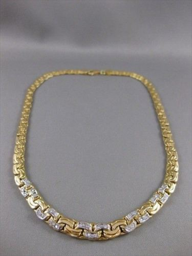 "ESTATE WIDE DIAMOND 18K YELLOW GOLD GRADUATING WAVY CHAIN NECKLACE 17.75"" #13072"