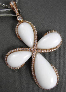 ANTIQUE LARGE 13.63CTW DIAMOND & AAA WHITE AGATE 14KT ROSE GOLD CROSS PENDANT