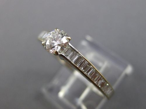 LARGE 1.25CT ROUND & BAGUETTE DIAMOND 18KT WHITE GOLD 3D CLASSIC ENGAGEMENT RING