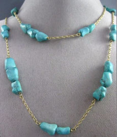 ESTATE EXTRA LONG AAA TURQUOISE 14KT YELLOW GOLD 3D BY THE YARD NECKLACE #25280