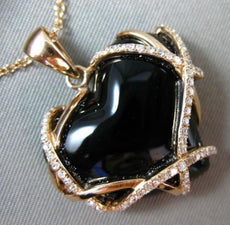 ESTATE .35CT DIAMOND & ONYX 14KT ROSE GOLD 3D HANDCRAFTED HEART FLOATING PENDANT