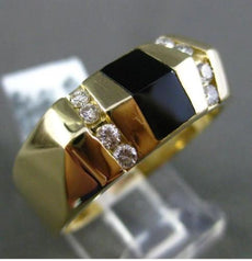 ESTATE WIDE .32CT DIAMOND & AAA BLACK ONYX 14KT WHITE & YELLOW GOLD MENS RING