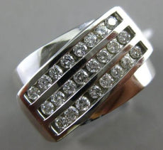 ESTATE LARGE .65CT DIAMOND 14KT WHITE GOLD 3D MULTI ROW MATTE & SHINY MENS RING